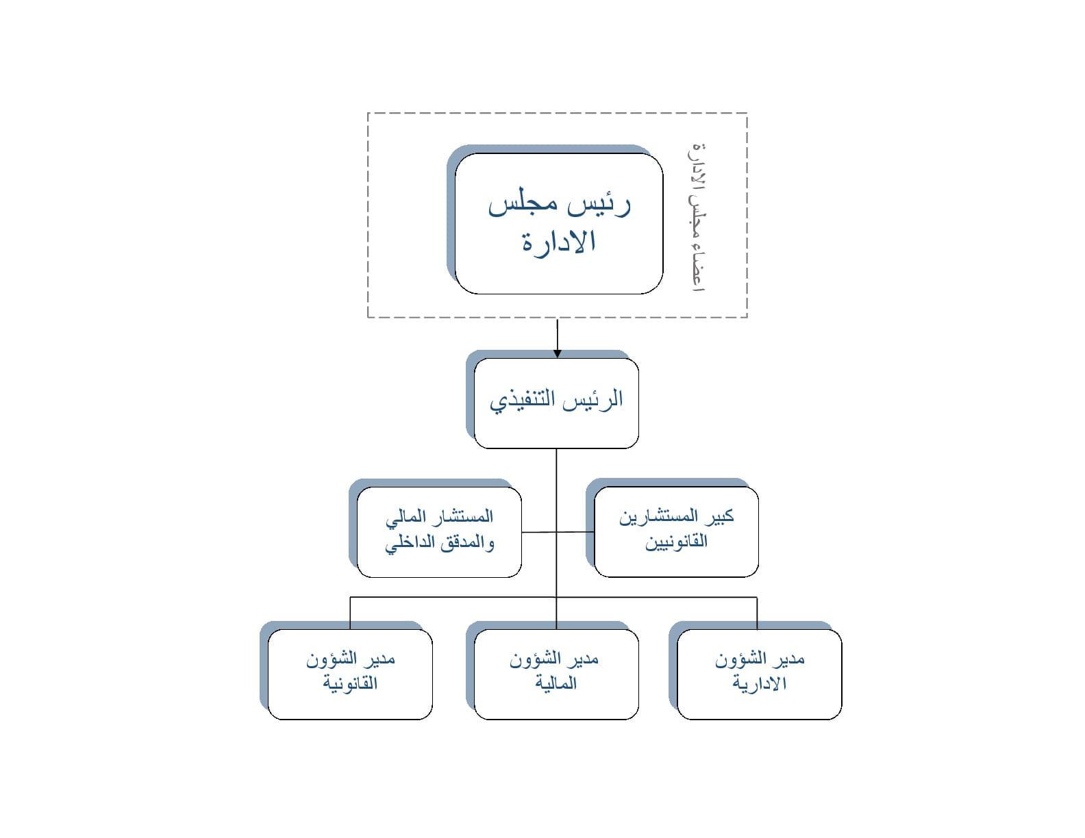 الهيكل التنظيمى للشركة